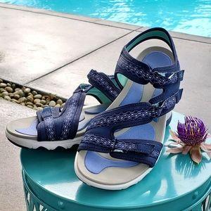 Ryka Adjustable Sport Sandals-Ginger, Navy, sz 10W